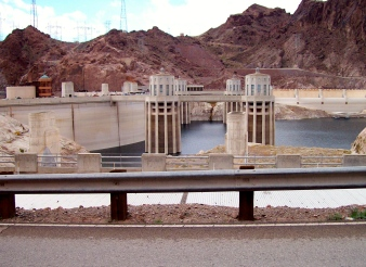 Hoover Dam  on the border of Nevada and Arizona