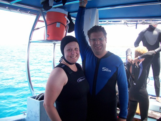 On the dive boat in Kona, Hawaii