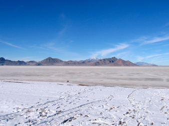We pass the Bonneville Salt Flats of Utah