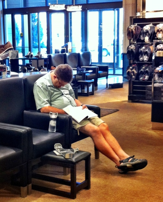 This boy can sleep anywhere. Even at Nordstrom. Where there are SHOES. Who sleeps when there are SHOES?!