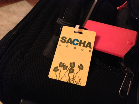 When you arrive at the airport a person from Sacha Lodge puts tags on all your luggage. They're very organized.