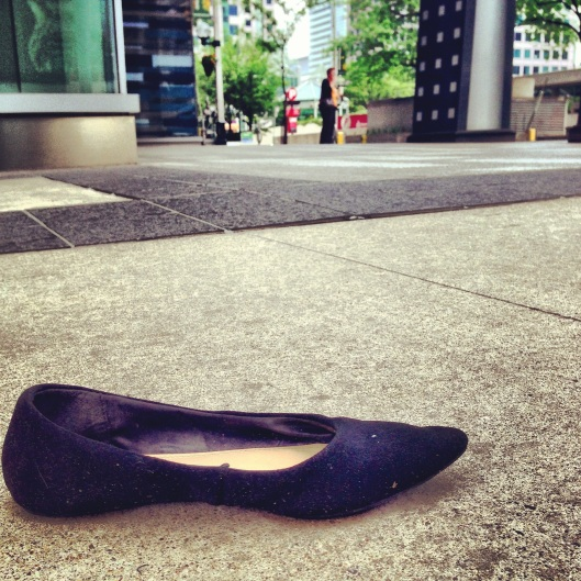 Did someone lose her shoe? That must have been some party the night before.