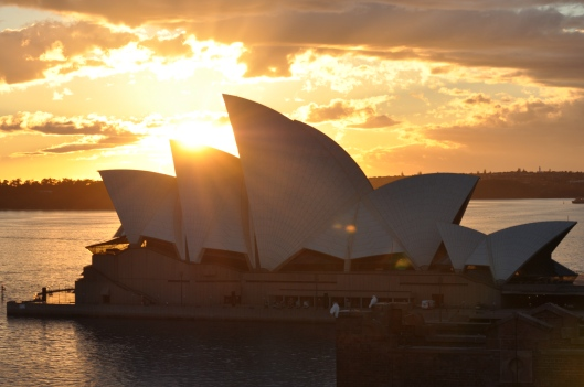 Sydney Opera House gives crazy poses in the morning from the Holiday Inn rooftop.