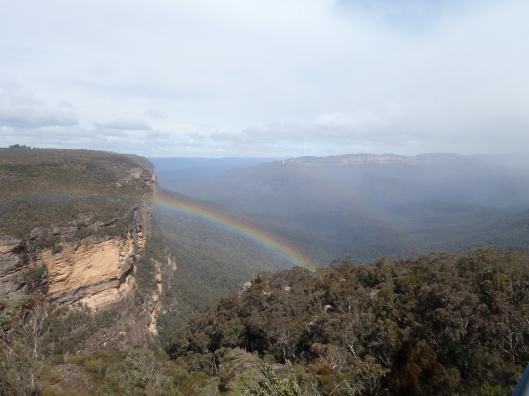 Aww, a rainbow at Wentworth Falls in the Blue Mountains.