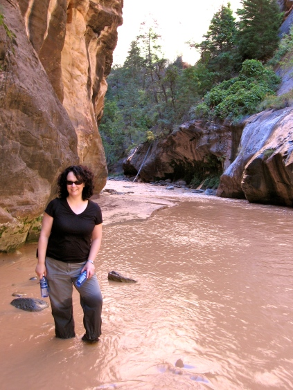 Trying to look cool as I hike the Narrows.