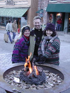 Warming up with friends on  Main Street in Park City at the 2002 Olympics.