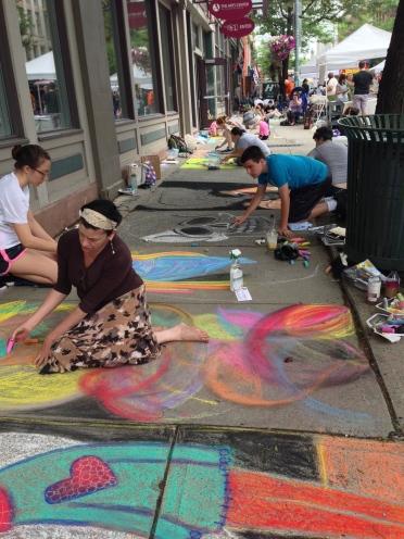 Street chalk Troy New York
