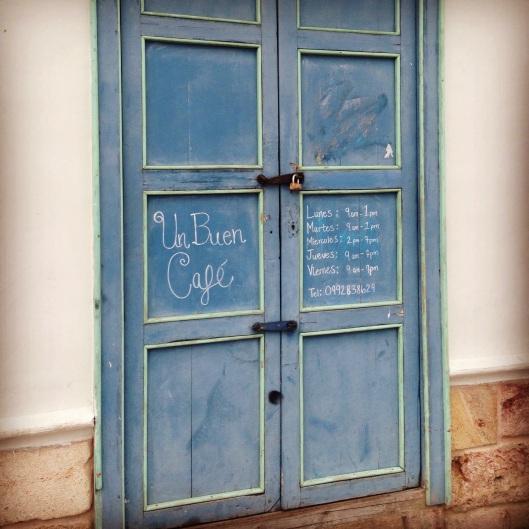 Pretty penmanship and pretty blue invite you in.
